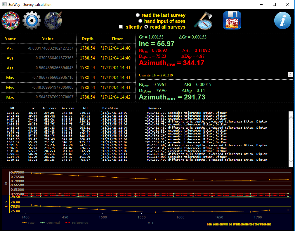 a screenshot of SurWay.exe - a free survey calculation and correction software